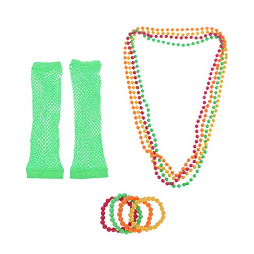 lahomia 9 Piece 70s 80s Cosplay Party Long Necklace Bracelet - Green, One Size