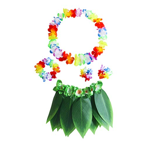 PRETYZOOM - Gonna Hawaiana da Danza Tropicale Hawaiana con Collana di Fiore Artificiale, bracciali, Travestimento da Hula per Bambini