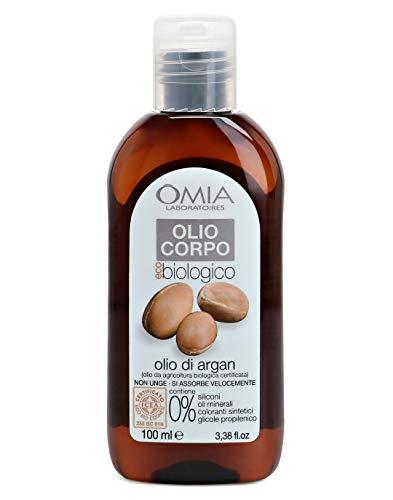 Omia Olio Corpo Eco Bio Con Olio di Argan Biologico, Olio Idratante da Agricoltura Biologica Certificata, Ottimo per Pelli Secche e Irritabili, Dermatologicamente Testato, 100 ml