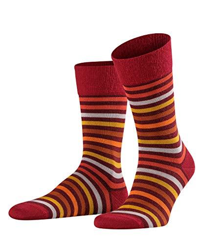FALKE Herren Socken Tinted Stripe, Schurwolle/Baumwollmischung, 1 Paar, Rot (Barolo 8596), Größe: 39-42