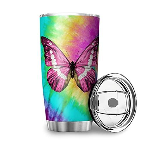 KittyliNO5 Mariposa Tie-Dye Taza de acero inoxidable, taza de doble pared, taza de viaje con tapa, a prueba de fugas, 600 ml, color blanco