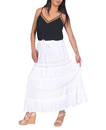 KayJayStyles Full Length Womens Solid Embroidered Gypsy Bohemian Long Cotton Skirt (White) One Size