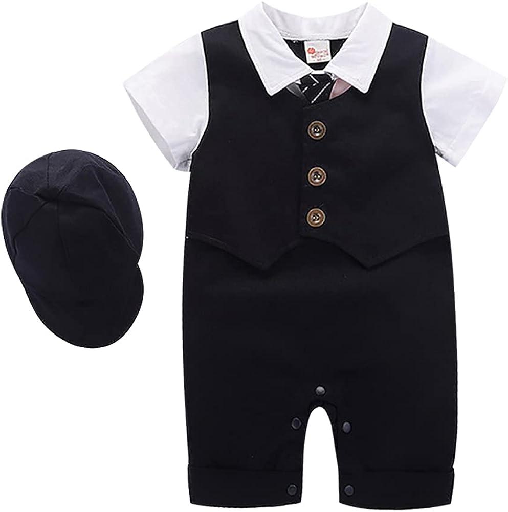 Baby Boy Gentleman White Shirt Waistcoat Bowtie Tuxedo Onesie Jumpsuit Overall Romper Birthday Outfit Formal Suit 0-18M