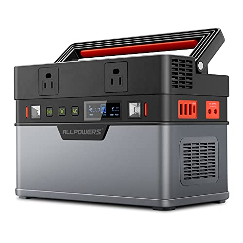 ALLPOWERS Portable Power Station 500W ( Peak 1000W ) Solar Generator MPPT 666Wh 185200mAh Backup Battery with 2 AC Outlets Emergency Power for Camping Road Trips Off-Grid