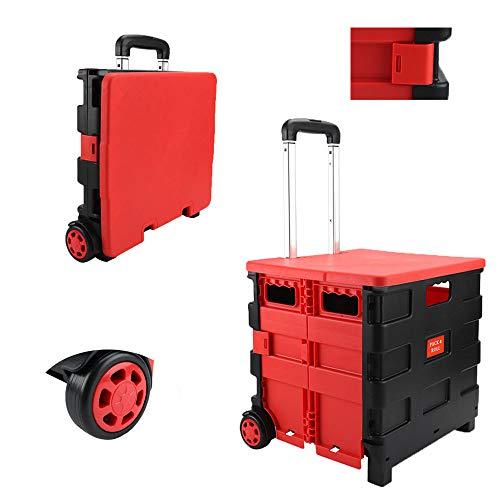 NUODUN Faltbarer Bollerwagen mit rotem Deckel, zusammenklappbare und faltbare Handbox mit Deckel auf Rädern, 25 kg Kapazität (25 kg Kapazität mit Deckel, rot)
