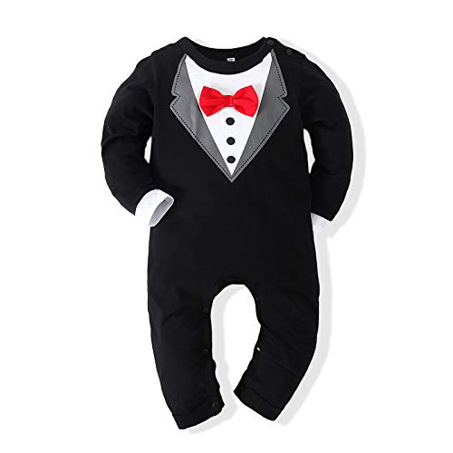 Kimocat Baby Boy Romper Tuxedo Jumpsuit Gentleman One-Piece Button-Down Bowtie Wedding Suit Bodysuit (Black&Red Bowtie, 12-18 months/90)