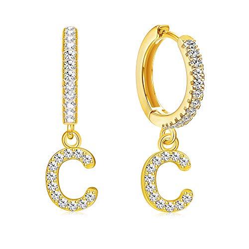 Milacolato Initial Ohrringe 18 Karat vergoldet Sterling Silber Dangle Creolen Pave Zirkonia Alphabet Buchstabe Huggie Ohrringe für Männer Frauen