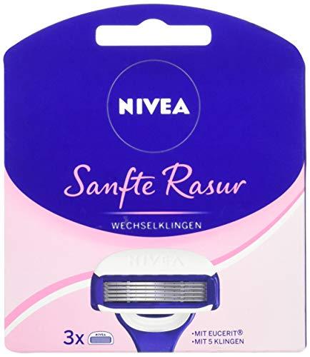 NIVEA Sanfte Rasur Wechselklingen im 1er Pack (1 x 3 Stück), 3 Rasierklingen für NIVEA Rasierer mit Wechselklingen, Rasieraufsätze mit je 5 Einzelklingen und Gleitpad