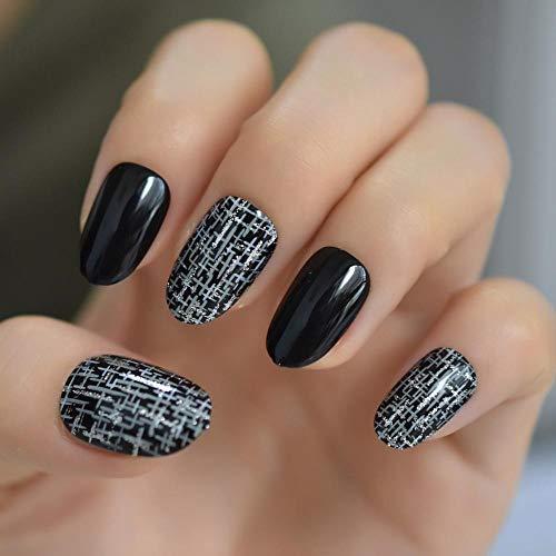 CSCH Faux ongles Fashion Silver Cross Rain Fake Nail Tips Black Full Cover Artificial 24pcs/kit Round False Press On Nails Free Adhesive Tabs