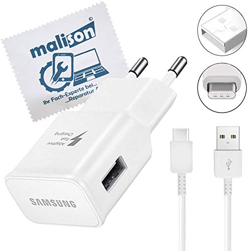 Ladegerät für Original Samsung für Galaxy Tab A 10.1, Tab A 10.5, Tab A 8.0 2017, Tab S5e, Tab S6 Schnell Ladekabel USB Typ-C [mit maIison Displayputztuch] Netzteil + Kabel 1.0m (Set) Weiß