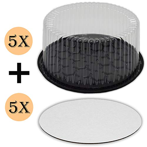 Plastic Cake Container with Clear Dome Lid 9 Inch and Cake Boards 9 inch, Cake Holder with Lid is for 2-3 layer cakes, Cake Board is Round, Cake Supplies, 5 Pack of each.