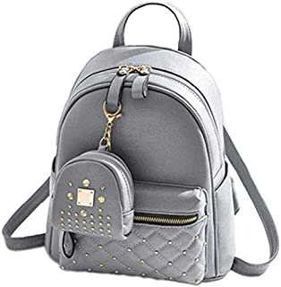 Sk Noor Women's Girls Fashion PU Leather Mini Casual Backpack Bags For School, College, Tuition, office With Small Pocket ...