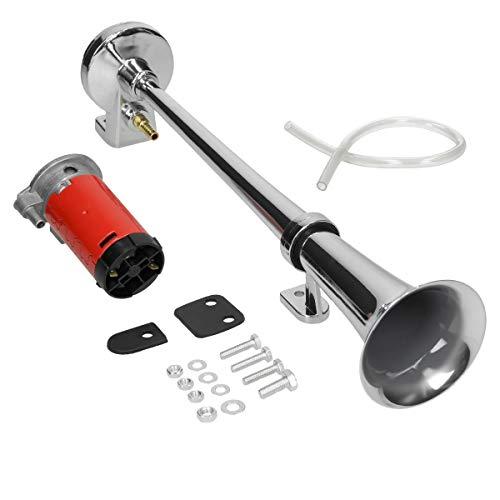ECD Germany Lufthorn Drucklufthorn mit Kompressor 12V 150 dB - 45cm - Chrom - für PKW LKW Motorräder - Druckluft Horn Autohupe Auto Hupe Fanfare Trompete