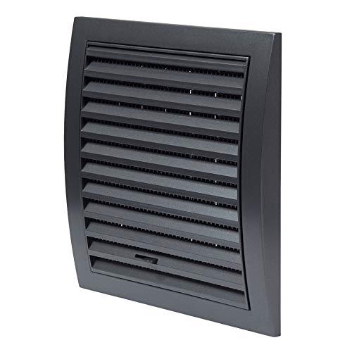 Haeusler-Shop - Rejilla de ventilación (190 x 190 mm, con control deslizante, protección contra insectos, plástico ABS), color gris oscuro