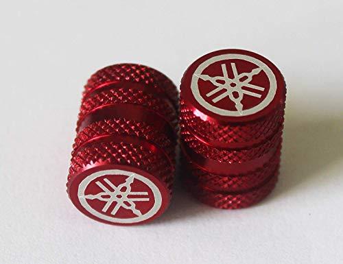 Yamaha 2er Set Original Stimmgabel Gerändelte Rot Reifen Ventil Staubkappen für Motorräder Fahrräder, ATV Auto