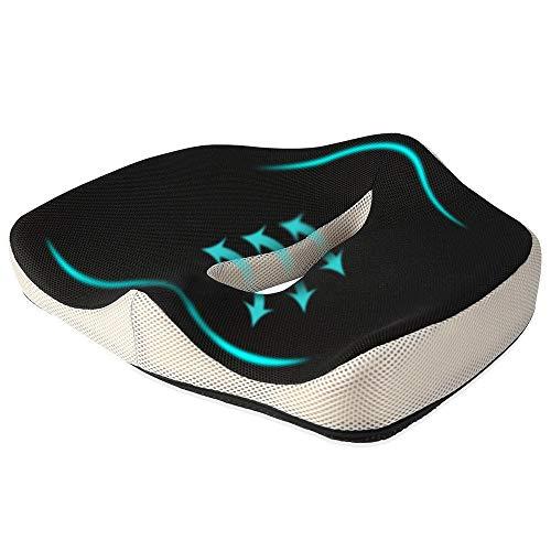 Ecloud Shop® Bürostuhl Kissen Memory Foam rutschfeste Sitzkissen Pad Steißbein Unterstützung für Hüfte Schmerzen Steißbein Rückenschmerzen Ischias