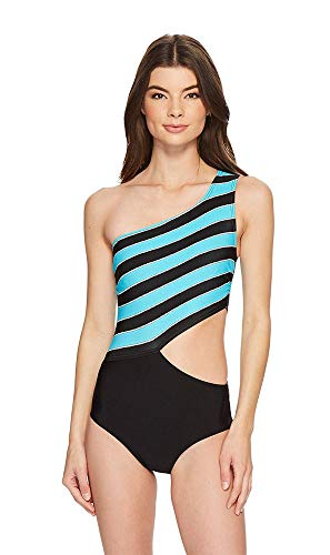 Michael Michael Kors Rope Rugby Stripe One Shoulder Cut Out One-Piece Swimsuit w/Zipper & Removable Soft Cups Turquoise 8
