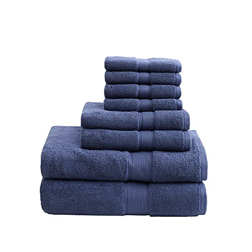 800GSM 100% Cotton Luxury Turkish Bathroom Towels , Highly Absorbent Long Oversized Linen Cotton Bath Towel Set , 8-Piece Include 2 Bath Towels, 2 Hand Towels & 4 Wash Towels , Navy