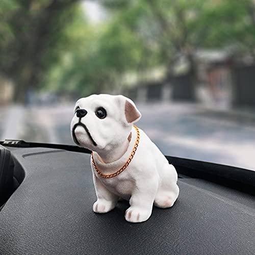 SEADEAR Car Nodding Dog Doll Cute Dog Ornaments Shaking Head Dog Car Dashboard Ornaments Toys Creative Gifts Car Ornaments (White Bulldog)