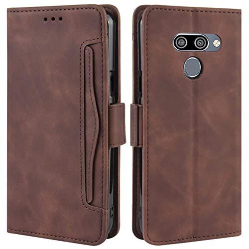 HualuBro Handyhülle für LG Q60 Hülle, LG K50 Hülle Leder, Flip Hülle Cover Stoßfest Klapphülle Handytasche Schutzhülle für LG Q60 / LG K50 Tasche (Braun)