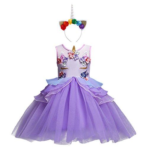 Costume da Principessa Unicorno per Bimba con Vestito Lungo Compleanno Ballerina Abiti Bambini Carnevale Halloween Cosplay Abito A Viola (2PCS) 6-7 Anni