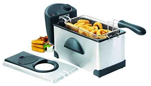 Family Care Freidora de 3 litros, desmontable, acero inoxidable, 2000 W, termostato ajustable hasta 190 ºC, piezas Fácil de Limpiar