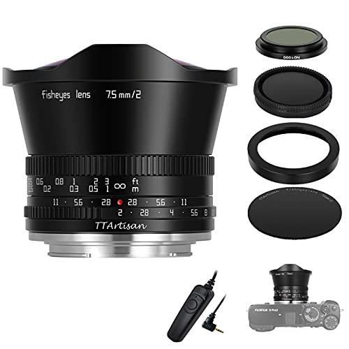 TTArtisan 7.5mm-F2.0-Objektivvergrößerung MF-Kameraobjektiv kompatibel mit FX-Mount-Kameras X-A1 X-A10 X-M1 X-M2 X-H1 X-T1 X-T10 X-T2 X-T20 X-T3 X-T4 X -T100 X-T200 X-T30 X-PR01 XS10 und mehr.