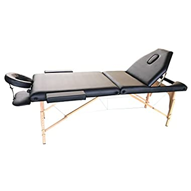 The Best Massage Table 3 Fold Black Reiki Portable Massage Table - PU Leather High Quality