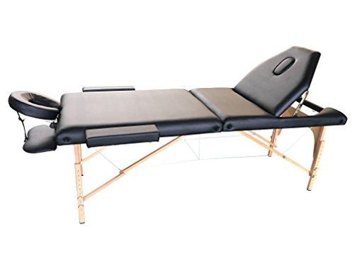 The Best Massage Table 3 Fold Black Reiki Portable Massage Table - PU Leather