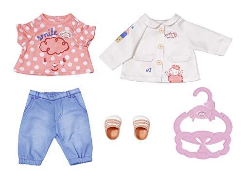 Zapf Creation 704127 Baby Annabell Little Spieloutfit 36 cm - Puppenoutfit mit Bluse, Jacke, Hose, Schuhe und Kleiderbügel