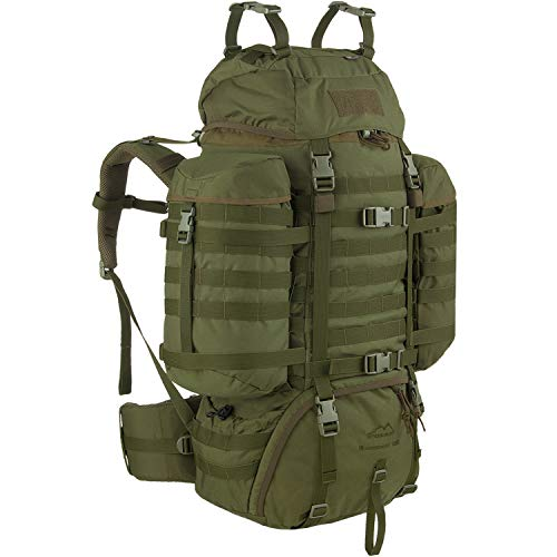 Wisport Trekkingrucksack groß robust + inkl. E-Book | taktischer Rucksack | Survival Outdoor Backpack | Expeditionsrucksack olivgrün | Transport | Cordura | Raccoon 85 Liter, Olive Green