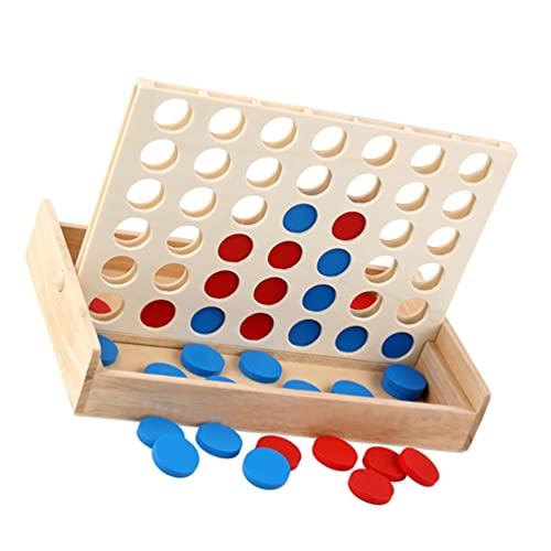 VILLCASE Holz Linie bis 4 Spiel 4 zu Punktzahl Spiel Holz 4 in Einer Reihe Spiel Holz Pädagogisches Spielzeug Gehirn Spielzeug Brettspiel für Kinder Erwachsene Kinder