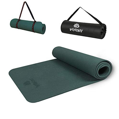 VIFITKIT Yoga Mat Eco Friendly Workout Mat for Yoga, Pilates Floor Exercises with Free Carrying Bag and Strap (Made in India) (Bottle Green, 4mm)