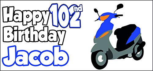 Cartel personalizable para scooter, diseño de 102 cumpleaños, diseño de abuelo o abuelo, para hombre, hija, madre o madre.
