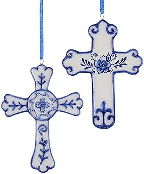 Kurt Adler 4 Porcelain Delft Blue Cross Ornament 2 Asstd