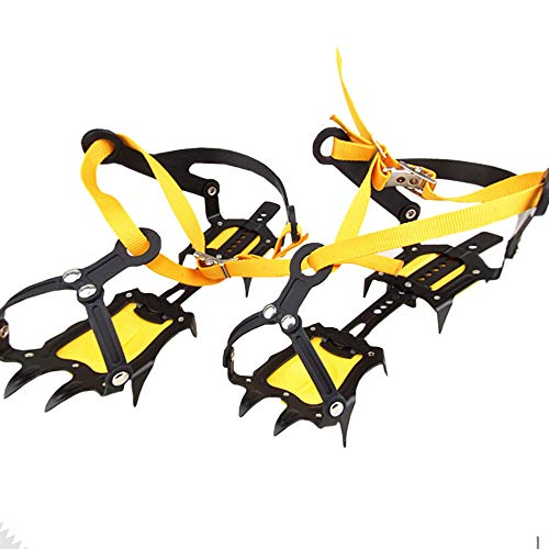 LXQ 10-Tooth Outdoor Crampons, Snowboard Straps, Mountain Climbing, Non-Slip Climbing Crampons, Suitable for Hiking, Rock Climbing, Jogging,