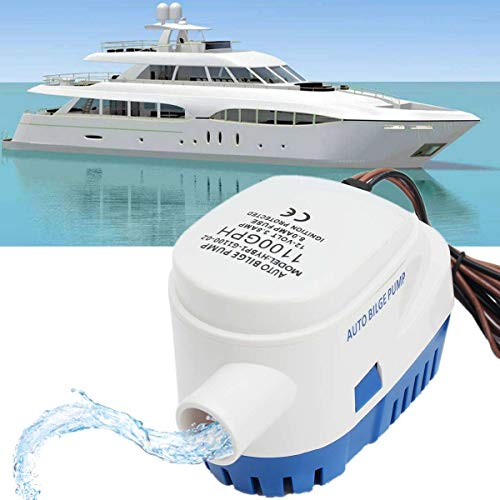 SISHUINIANHUA Automatic Submersible Bilge Auto Water Pump 1100GPH Boat 12V Marine Float Switch High Efficiency Ignition Protected Anti Airlock