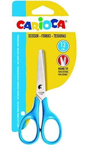 Carioca 42634 - Tijeras escolares punta redondeada pequeñas, color azul