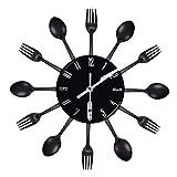 Pceewtyt Decorazione per la casa, senza intoppi, in acciaio inox, con posate, coltello e forchetta, orologio da parete per cucina, ristorante, casa