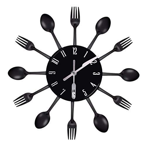 Nrpfell Haus Dekorationen Geräuschlos Edelstahl Besteck Uhren Messer und Gabel Löffel Wanduhr Küche Restaurant Haus Dekor