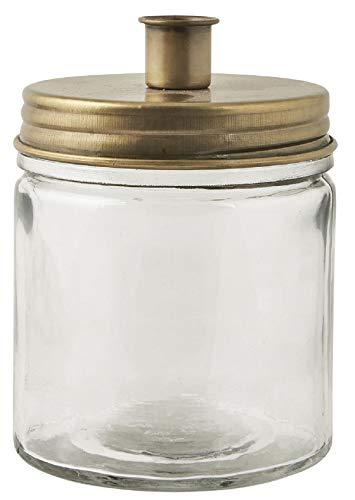 IB Laursen Kerzenhalter für Stabkerze mit Metalldeckel ca. 15 x 11 cm- Goldfarben - Glas zur Aufbewahrung von Dekoration - Für Stabkerzen 2 cm Durchmesser