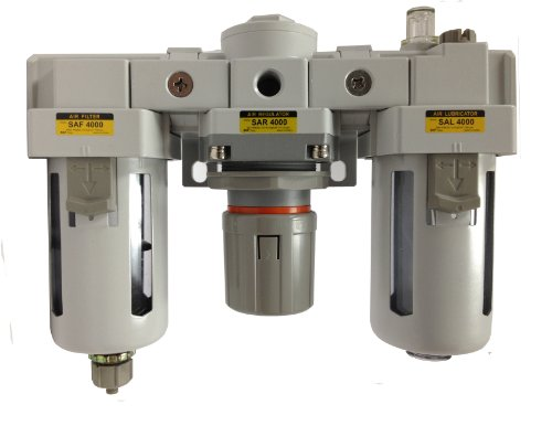 PneumaticPlus SAU4000M-N06G Three-Unit Combo Compressed Air Filter/Regulator/Lubricator FRL Air Preparation Unit 3/4