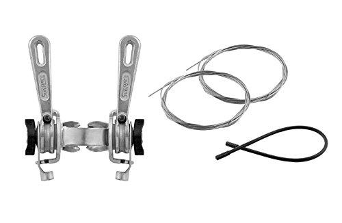 Onogal 3462 Sunrace Schalthebel in Retro-Design für Schaltung von Rennrad, in Silber + Kabel + Hüllen