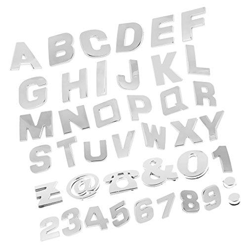 MagiDeal 200 Piezas Cromo Coche Emblema Etiqueta Engomada Alfabeto Letra Número Símbolo Pegatina