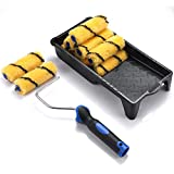 4 inch Paint Roller,Paint Roller Tray Set-Mini Roller Frame with Covers, Roller Naps, Small Roller,12 Piece Paint Roller Tool Kit for Home Repair and Professional Painting
