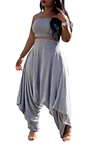 Vakkest Women's 2 Piece Tracksuit Sexy Sleeveless Tube Top and Baggy...