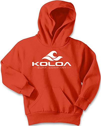 Koloa Wave Logo Youth Soft and Cozy Hoodies Size L-Orange