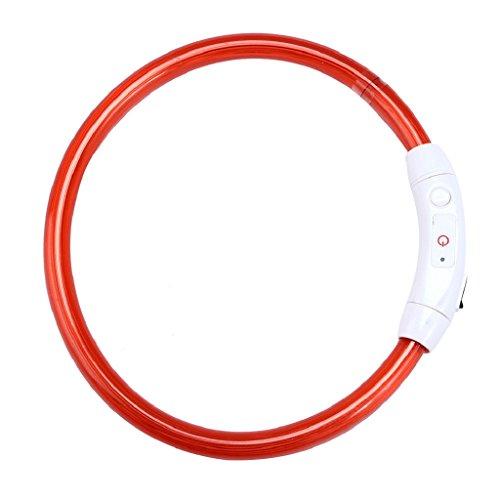 Ularma Collar de perro, USB recargable impermeable LED parpadea luz Collar del animal doméstico (rojo)