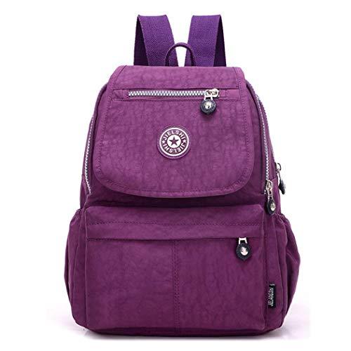 Sac à dos en nylon imperméable pour femme - Sac d'école léger - Multi-poches - Violet - Taille Unique