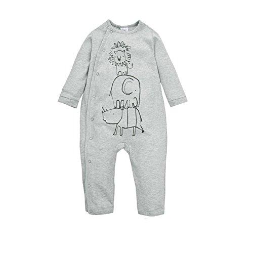 CuteOn bébé Onesies Manche longue Bodys - Col rond - 100% Coton Cozy - Taille De Early bébé à 2 Ans Lion&éléphant&Rhinocéros 9 Mois